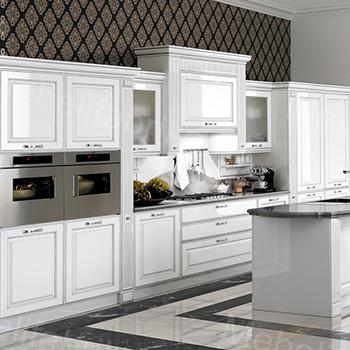 дизайн белой кухни в греческом стиле