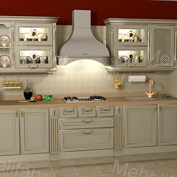 белый кухонный гарнитур в греческом стиле