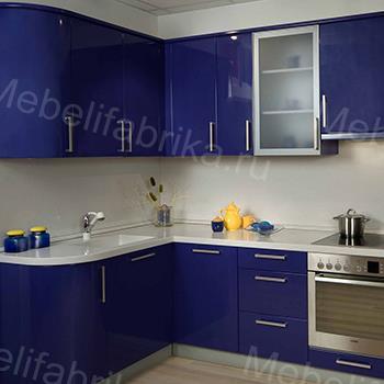 синий фасад для кухни