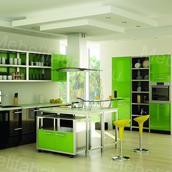 кухня с зеленым фасадом