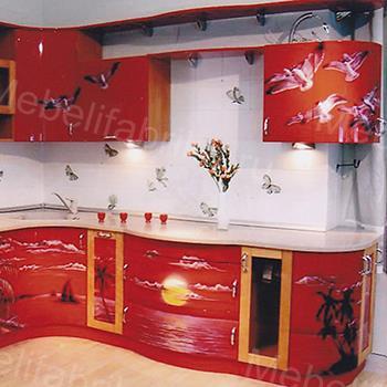 оригинальная красная кухня