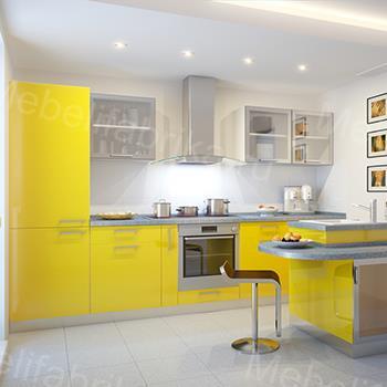 дизайн желтой кухни из пластика