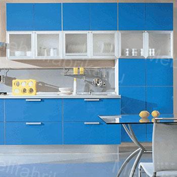 голубой кухонный гарнитур из пластика