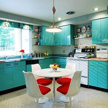 голубая кухня из пластика