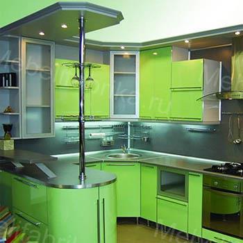 кухня акрил с барной стойкой