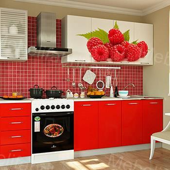 кухня бело-красная с фотопечатью
