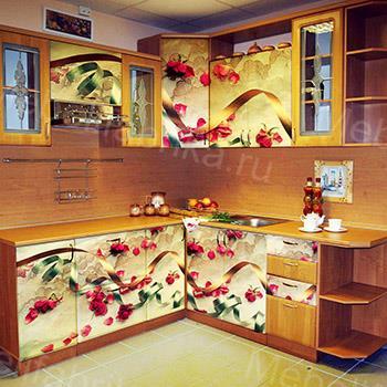 дизайн кухни с цветами с фотопечатью