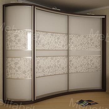 радиусный шкаф купе с рисунком